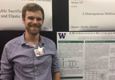 Image of Jake Price presenting research at the Los Alamos National Laboratory
